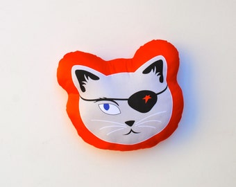 Halloween Pirate Cat - ORGANIC Pillow Cushion - Stuffed Toy - Modern Kids Home Decor - Eco-Friendly Baby Softie in Cherry Red and Silver