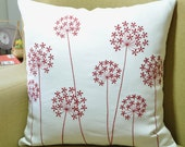 Red Flower Pillow Cover, White Linen Red Queen Ann, Embroidered, Floral Decorative Pillow, Modern Home Decor, Flower throw pillow