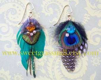 Feather Earrings - MUSEE Earrings - Peacock Feather & Crystal Dangles