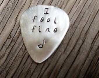Hand stamped guitar pick I feel fine sterling silver gift for the guitarist boyfriend gift