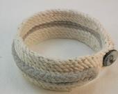 grey ecru cotton cuff bracelet fabric cuff bracelet hand stitched rope bracelet one button bracelet handmade casual cuff  2726