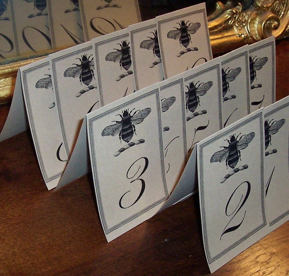 Bee Wedding Table Numbers Decor Napoleonic Bee LARGE Kraft / Cream Vintage Inspired Rustic Rehearsal Dinner Set 12 Honeybee Vintage Inspired