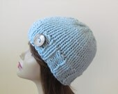 Womens Knit Hat Teens Knit Hat Winter Hat Chunky Knit in Glacier Blue with Coconut Shell Button Accent - Ready to Ship - Direct Checkout