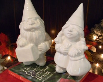Garden Gnome Wedding Gnome Cake toppers Garden traveling  Pocket Sized - Roaming Lady girl  and male  - Pocket book Suitcase in hand