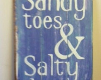 """Sandy Toes & Salty Kisses, Beach Sign, Beach Decor, Beach House, Beach Theme, Coastal Decor, Hand Painted 10 1/2""""w x 16""""h Surfer girl sign"""
