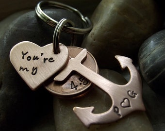 You're my Anchor  Copper Keychain or Necklace,  with two lucky pennies