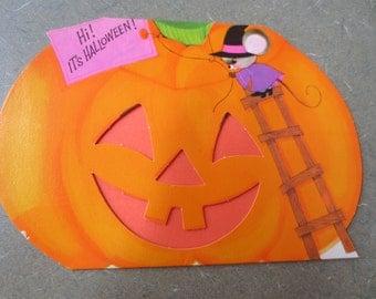 Vintage Card, Halloween Card, Orange Pumpkin Card, Jack o'Lantern, Child Halloween, Stand Up Card,American Greetings, Holiday,  Kids, NOS