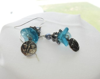 Czech Glass Beads, Blue 3 Petal Flower Earrings,  Antique Silver Bead Caps, Small Dragonfly Charm, Trinity Brass,Sterling Silver