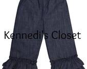 Girls Double Ruffle Denim Pants