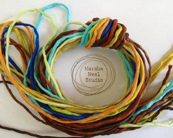 Silk Ribbon Cord Bundle Item No.299 Contains Ten 2mm Silk Ribbons Random Colors