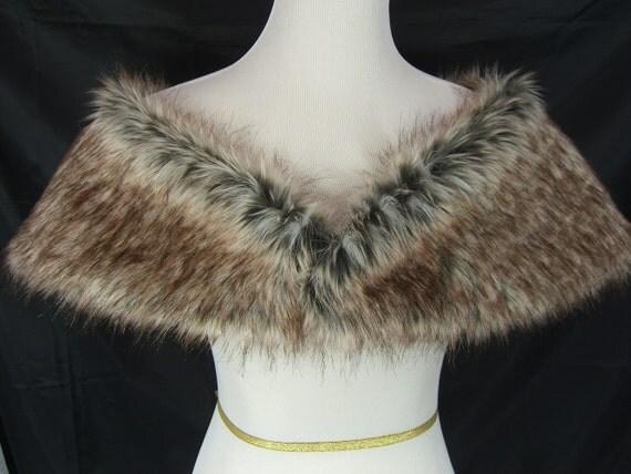 White Fur Stole >> Faux Fur Shrug Gray/Brown/White Wolf Faux Fur Shawl Fur