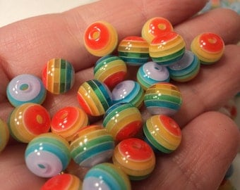 Striped Resin Beads - Set of 50
