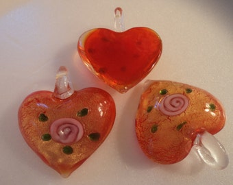 SALE - Glass Heart Pendant - Red Orange - #PND920