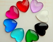 10 Pieces 1 Inch Glass Heart Domed Cabochons for Crafts, Jewelry Choice of Colors - Red Pink Purple White Black Blue Green