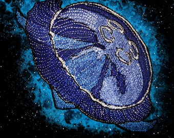 Blue Moon Jelly Jellyfish Iron on patch