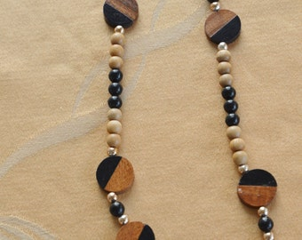 Pretty Vintage Wooden Bead Necklace, Tribal