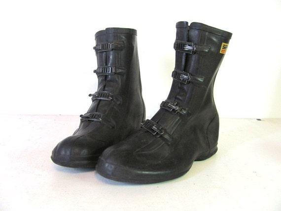 vintage black rubber galoshes with metal buckles // rain boots