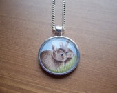 Nature jewellery, bunny rabbits pendant,original wildlife drawing,wearable art