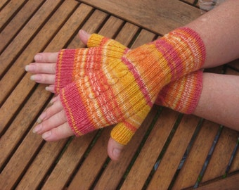 Womens Cable Fingerless Mittens -  Fingerless Gloves -  Hand  Warmers - Hand knit. Val320. FREE SHIPPING