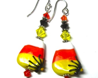 Candy Corn Earrings, Halloween Earrings, Lampwork Earrings, Spider Earrings, Handmade Earrings, Halloween Jewelry, Handmade Jewelry