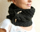 Hand Knit Scarf Winter Fashion Dark Sage Green Khaki Cable Chunky Knit Cowl Neck Scarf With Buttons