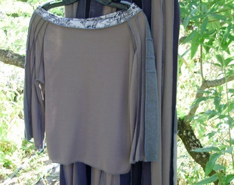 Taupe Crop Top upcycled wool & cotton blend jersey