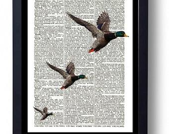 Large Framed Original Art on A Vintage Dictionary Book Page 3 Flying Ducks