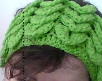PATTERN Feather Crocodile Crochet Ear Warmer / Headband  - PDF Pattern - Permission to sell finished item