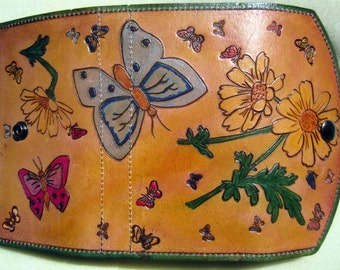 Clutch Wallet with Hand Carved Hand Painted Flowers and Butterflies  Made in GA USA