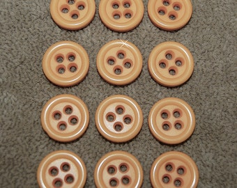 Vintage Lot of 10 Matching Cantelope Melon Orange 15mm Buttons P2R