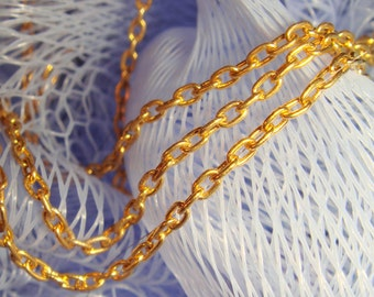 Vintage 15' Gold Plated Chain 2.8 x 1.4 mm Rectangle Links  P4L