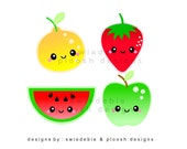 Digital Prints of 4 Kawaii Fruits for Cards, Tags, Scrapbooking, Collage, Stickers, Namecards