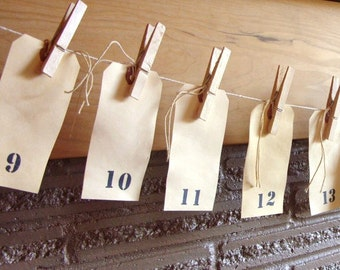 Large Rustic Tea Stained Numbered Tags with Clothespins and Twine Wedding Table Numbers