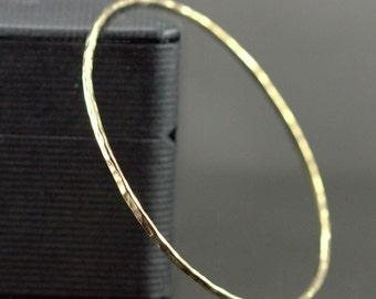 Solid 14k Gold Bangle - Hammered Solid Gold Bangle - Skinny 1.6mm Bangle Bracelet - Rose Gold or Yellow Gold