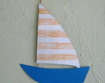 Sailboat metal wall art marine sculpture  reclaimed metal wall decor ocean beach house bathroom kids playroom