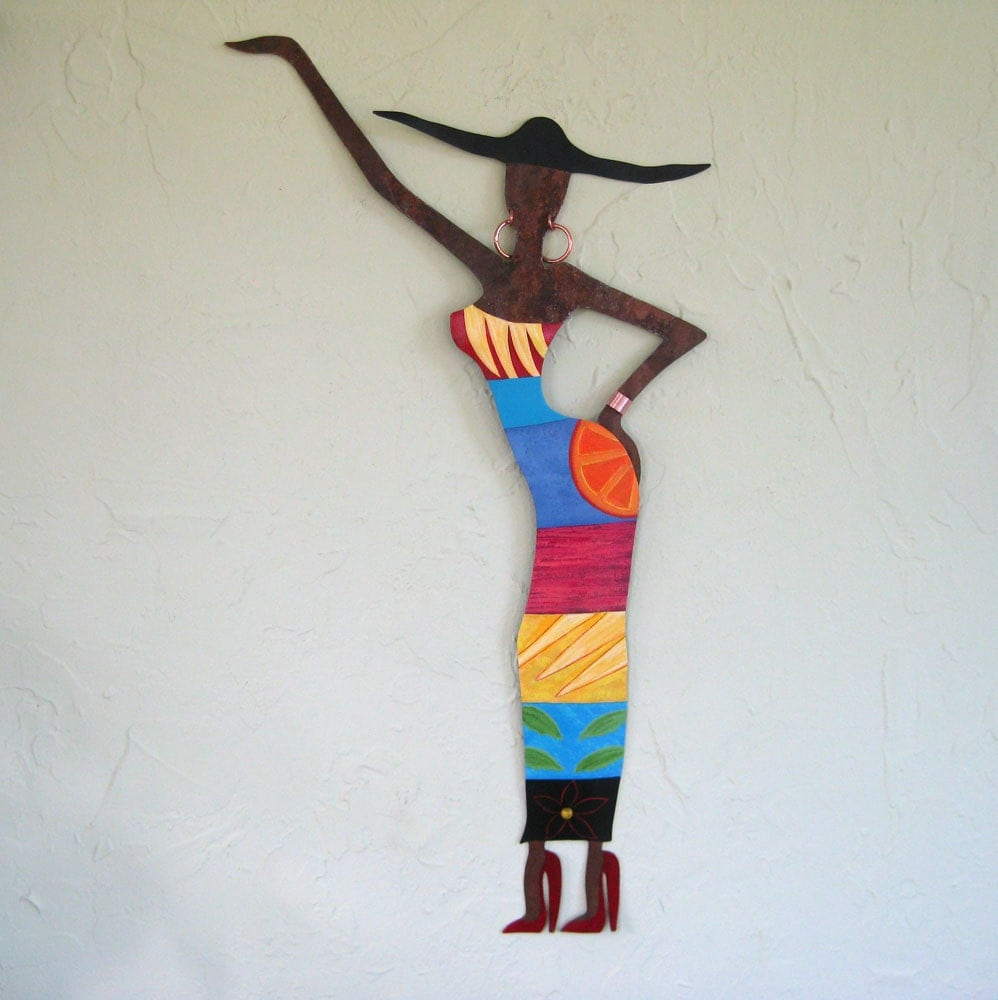 Metal wall art sculpture exotic african lady african for African wall art