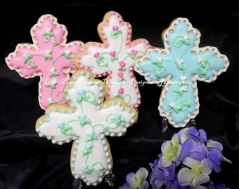 Cross Cookies - Cross Decorated Cookies - 12  Cookies