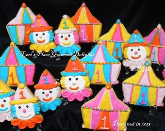 Circus Cookies - Circus Birthday Cookies - Circus Tent - Clown -12 Cookies