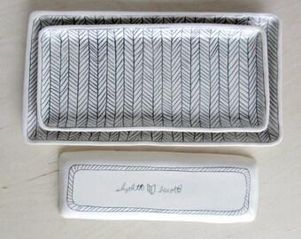 Medium Herringbone Nesting Tray in Black and White - Made to Order