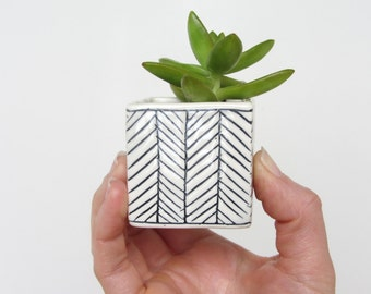 Small Square Herringbone Planter - Made to Order