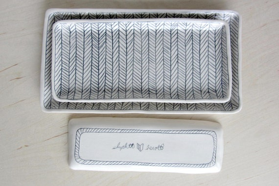 Medium Herringbone Nesting Tray in Black and White - Made to Order