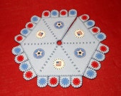 """Patriotic Penny Rug Style Feather Tree Skirt with Matching Tree Topper - 16"""""""