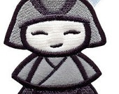 Silent Samurai Applique Embroidered Patch, Sew or Iron on