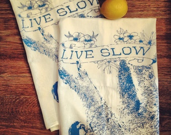 Towel Set of 2 - LIVE SLOW Sloth - Multi-Purpose Flour Sack Bar Towels - Renewable Natural Cotton - Ready to Ship