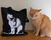 Canvas tote bag, black and white cat, canvas travel bag, white cat silhouette, halloween, back to school bag, gift for cat lover, reusable
