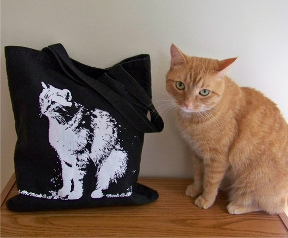 Canvas tote bag, black and white cat, canvas travel bag, white cat silhouette, beach tote, back to school bag, gift for cat lover, reusable