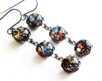 Black Opal Dangle Earrings Vintage Rainbow Opal Earrings Iridescent Glass Harlequin Fire Opal Jewelry Gift For Her