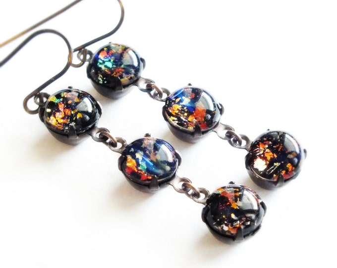 Black Opal Dangle Earrings Vintage Rainbow Opal Earrings Iridescent Glass Harlequin Fire Opal Jewelry Gift For Her