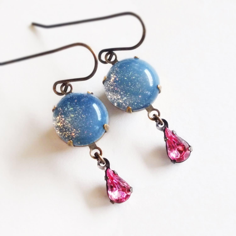 Opal Glitter Nail Polish: Opal Glitter Earrings Small Vintage Pastel Blue Pink Glass