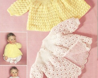 "PDF Crochet Pattern Baby Patterned Matinee Coats to fit size 18"" (D332)"